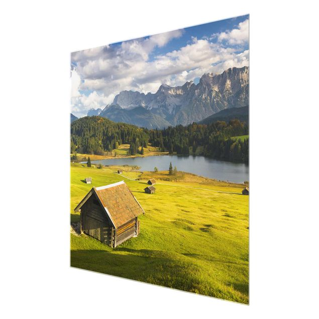 Produktfoto Glasbild - Geroldsee Oberbayern - Quadrat 1:1
