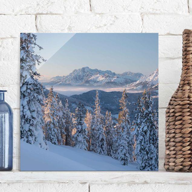 Produktfoto Glasbild - Leoganger Steinberge Österreich - Quadrat 1:1
