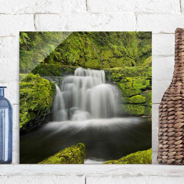 Produktfoto Glasbild - Lower McLean Falls in Neuseeland - Quadrat 1:1