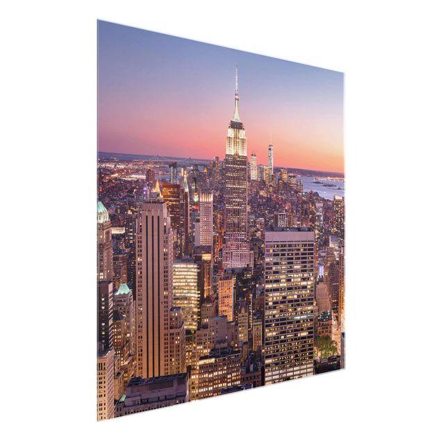 Produktfoto Glasbild - Sonnenuntergang Manhattan New York City - Quadrat 1:1