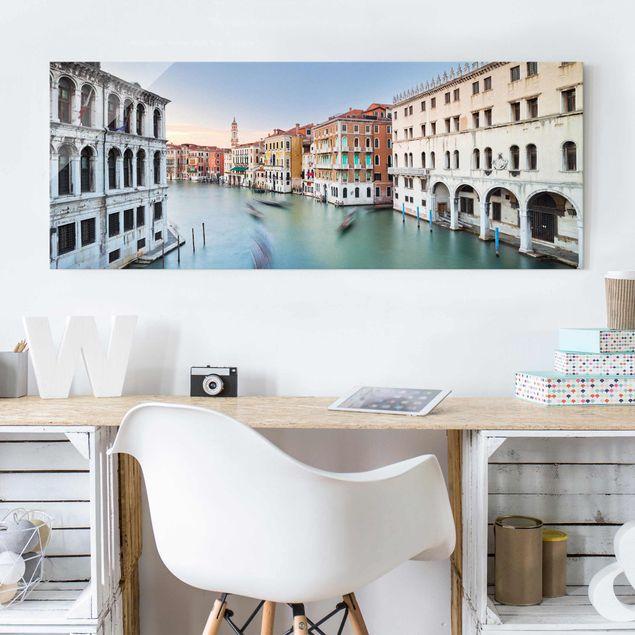 Produktfoto Glasbild - Canale Grande Blick von der Rialtobrücke Venedig - Panorama