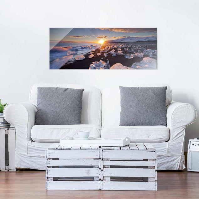Produktfoto Glasbild - Eisbrocken am Strand Island - Panorama