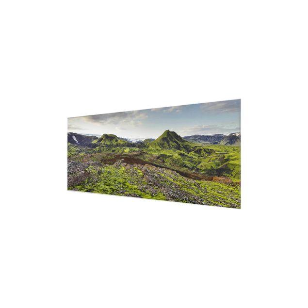 Produktfoto Glasbild - Rjupnafell Island - Panorama