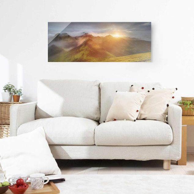 Produktfoto Glasbild - Storkonufell im Sonnenaufgang - Panorama
