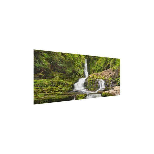 Produktfoto Glasbild - Upper McLean Falls in Neuseeland - Panorama