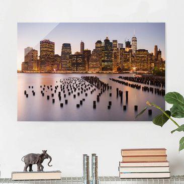 Produktfoto Glasbild - Blick auf Manhattan Skyline - Querformat 2:3