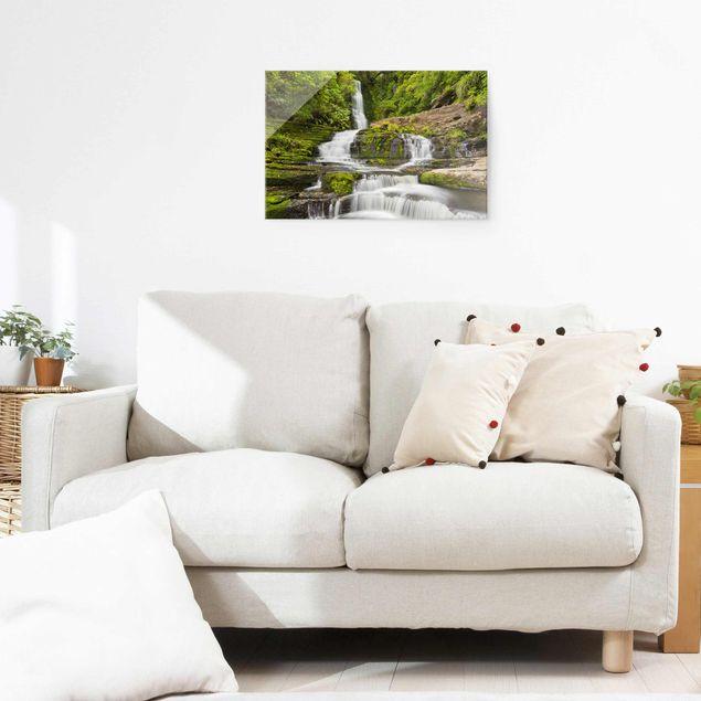 Produktfoto Glasbild - Upper McLean Falls in Neuseeland - Querformat 2:3