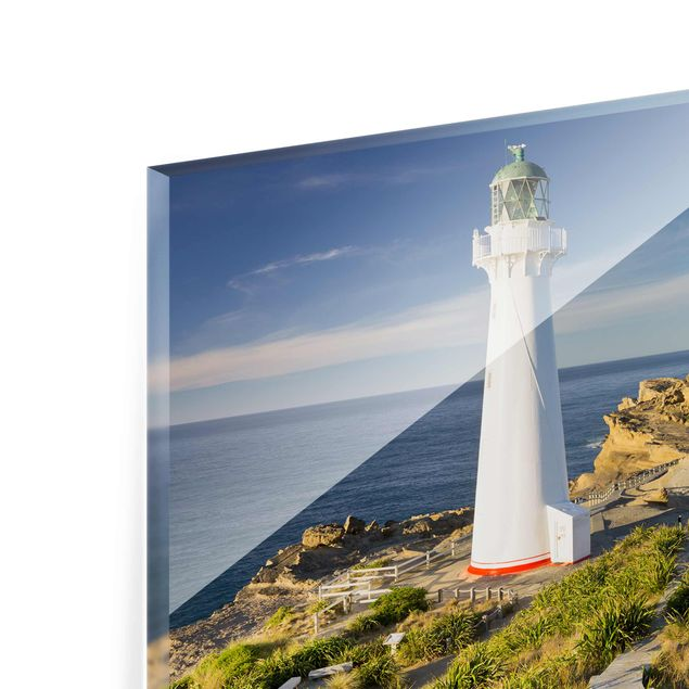 Produktfoto Glasbild - Castle Point Leuchtturm Neuseeland - Querformat 3:4