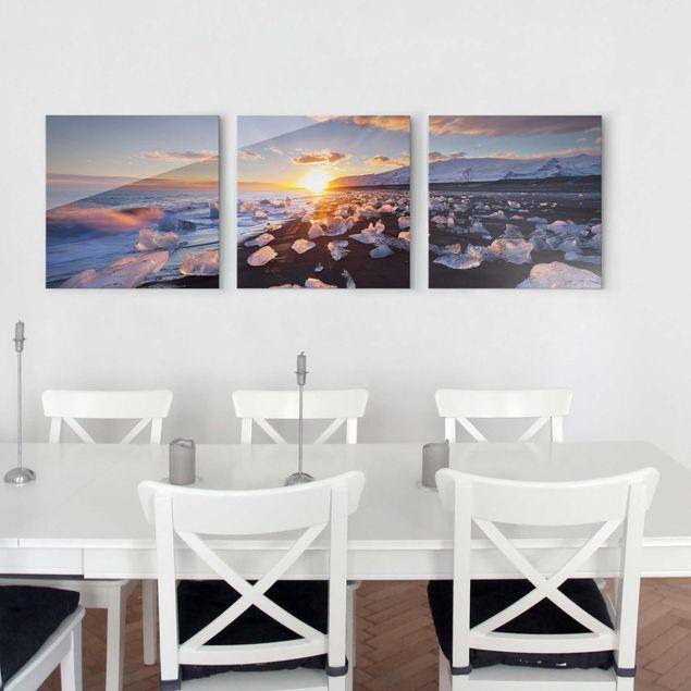 Produktfoto Glasbild mehrteilig - Eisbrocken am Strand Island - 3-teilig