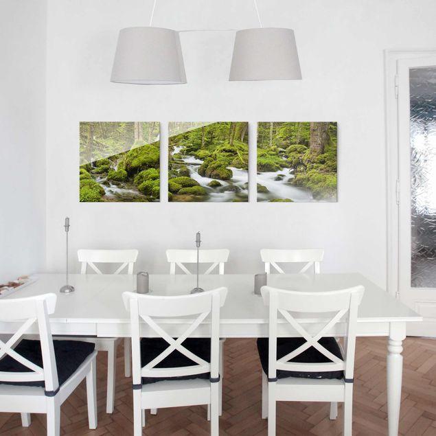 Produktfoto Glasbild mehrteilig - Moosbedeckte Steine Schweiz - 3-teilig