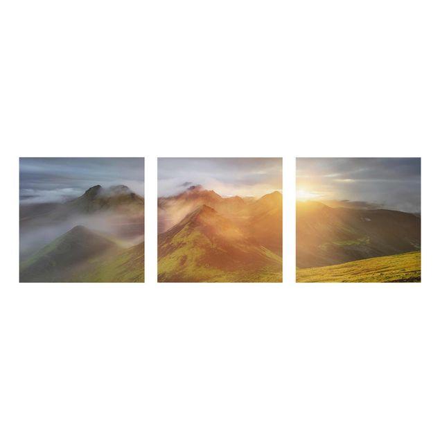 Produktfoto Glasbild mehrteilig - Storkonufell im Sonnenaufgang - 3-teilig