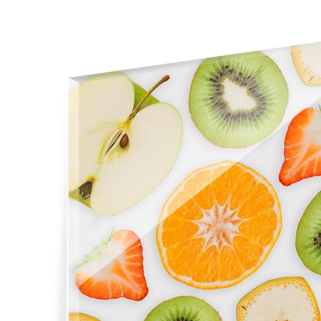 Produktfoto Spritzschutz Glas - Bunter Obst Mix - Quadrat 1:1
