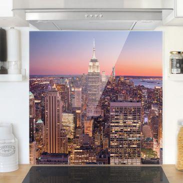Immagine del prodotto Paraschizzi in vetro - Sunset Manhattan New York City - Quadrato 1:1