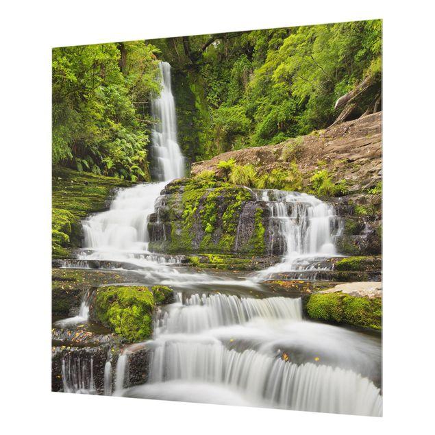 Produktfoto Spritzschutz Glas - Upper McLean Falls in Neuseeland - Quadrat 1:1