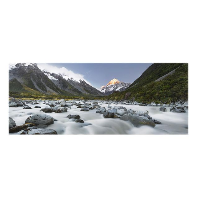 Produktfoto Spritzschutz Glas - Aoraki über dem Hooker River - Panorama