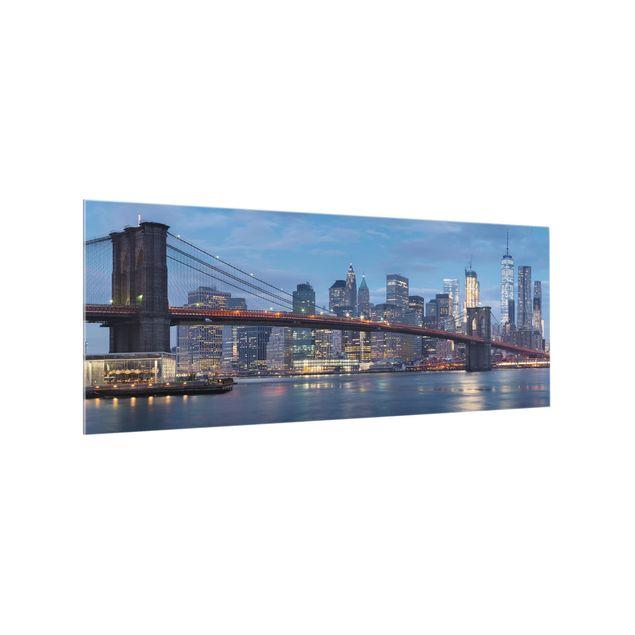 Produktfoto Spritzschutz Glas - Brooklyn Bridge Manhattan New York - Panorama