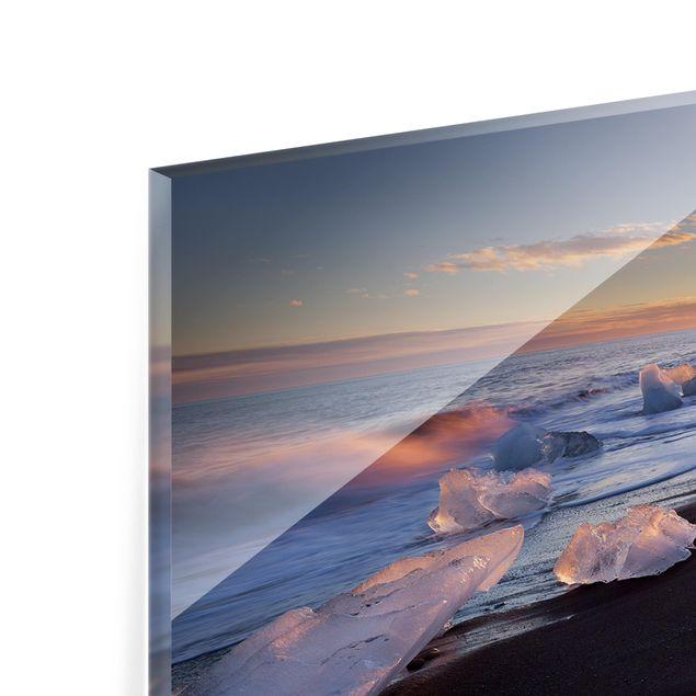 Produktfoto Spritzschutz Glas - Eisbrocken am Strand Island - Panorama