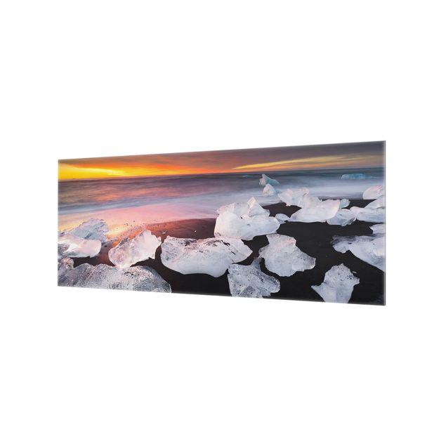 Produktfoto Spritzschutz Glas - Eisbrocken bei der Gletscherlagune Jökulsárlon Island - Panorama