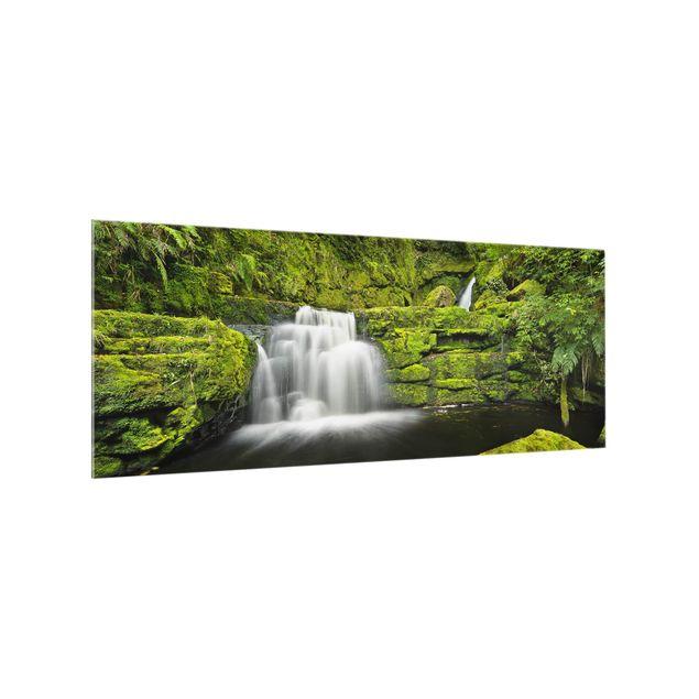 Produktfoto Spritzschutz Glas - Lower McLean Falls in Neuseeland - Panorama