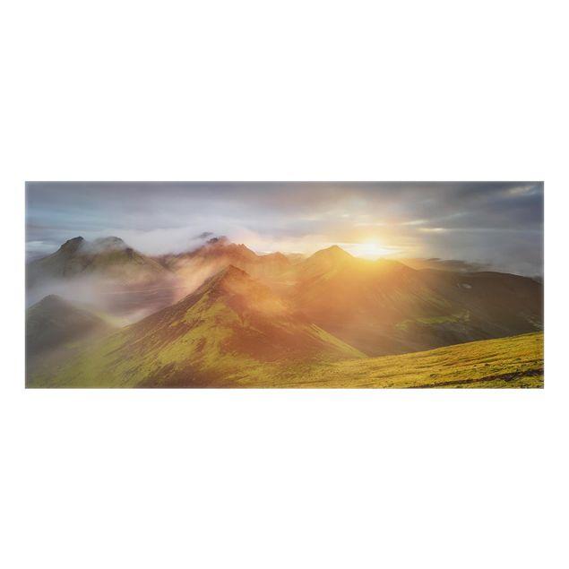 Produktfoto Spritzschutz Glas - Storkonufell im Sonnenaufgang - Panorama