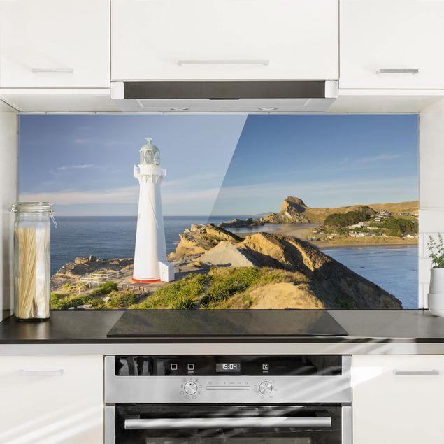 Produktfoto Spritzschutz Glas - Castle Point Leuchtturm Neuseeland - Querformat 1:2