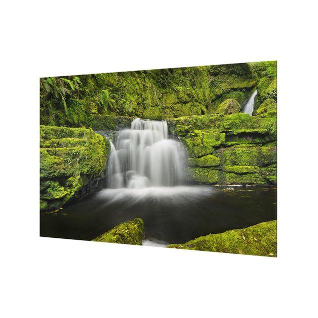 Produktfoto Spritzschutz Glas - Lower McLean Falls in Neuseeland - Querformat 2:3