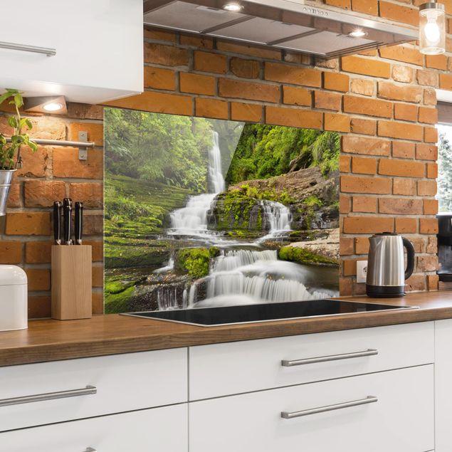 Produktfoto Spritzschutz Glas - Upper McLean Falls in Neuseeland - Querformat 2:3