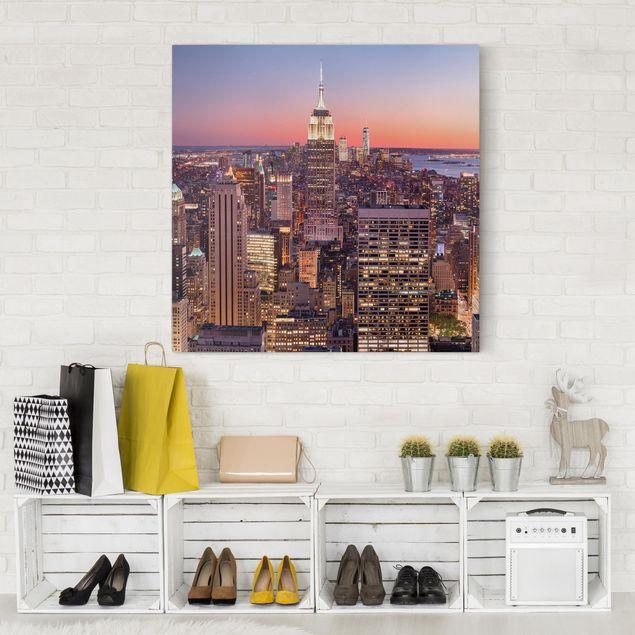 Produktfoto Leinwandbild - Sonnenuntergang Manhattan New York City - Quadrat 1:1