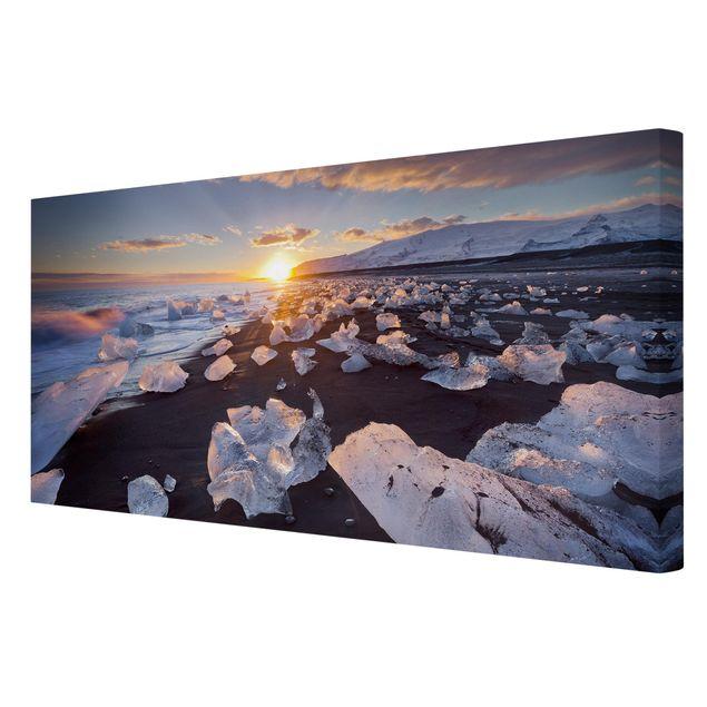 Produktfoto Leinwandbild - Eisbrocken am Strand Island - Querformat 1:2