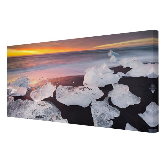 Produktfoto Leinwandbild - Eisbrocken bei der Gletscherlagune Jökulsárlon Island - Querformat 1:2