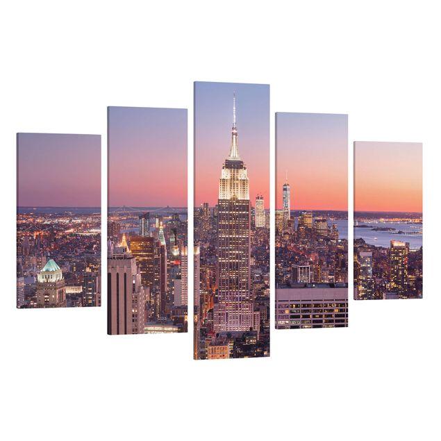 Produktfoto Leinwandbild 5-teilig - Sonnenuntergang Manhattan New York City