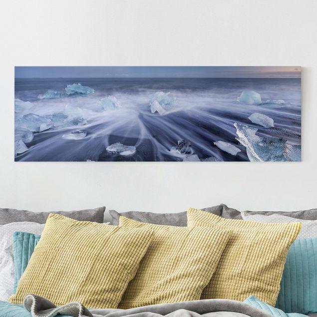 Produktfoto Leinwandbild - Eisbrocken am Strand Ostisland Island - Panorama 1:3