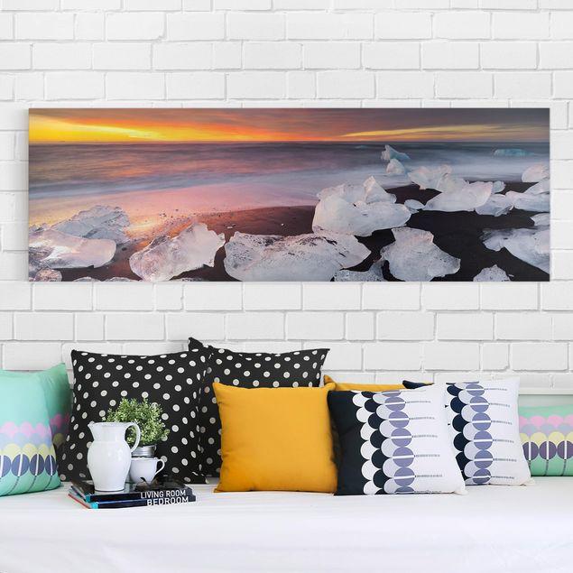 Produktfoto Leinwandbild - Eisbrocken bei der Gletscherlagune Jökulsárlon Island - Panorama 1:3