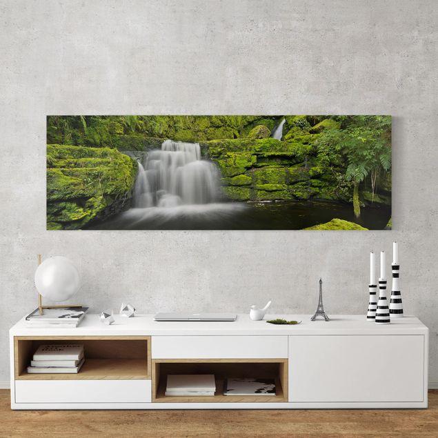 Produktfoto Leinwandbild - Lower McLean Falls in Neuseeland - Panorama 1:3