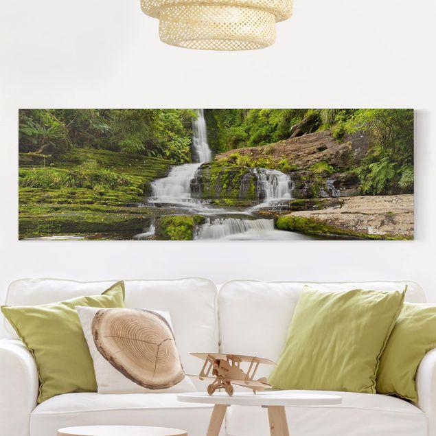 Produktfoto Leinwandbild - Upper McLean Falls in Neuseeland - Panorama 1:3