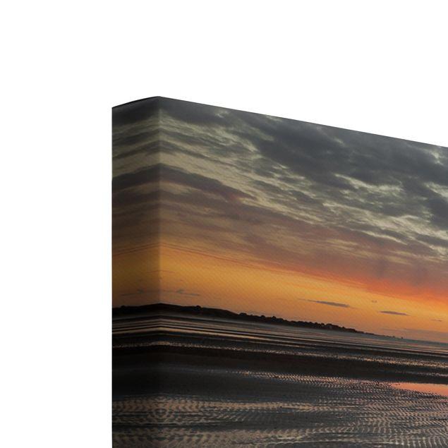 Produktfoto Leinwandbild 3-teilig - Sonnenaufgang im Watt - Quadrate 1:1