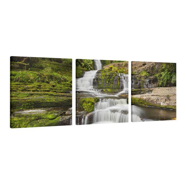 Produktfoto Leinwandbild 3-teilig - Upper McLean Falls in Neuseeland - Quadrate 1:1