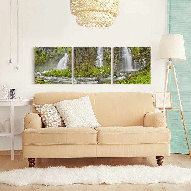 Produktfoto Leinwandbild 3-teilig - Wasserfälle Cascade de Flumen - Quadrate 1:1