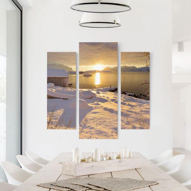 Produktfoto Leinwandbild 3-teilig - Bootshaus bei Gammelgarden - Galerie Triptychon