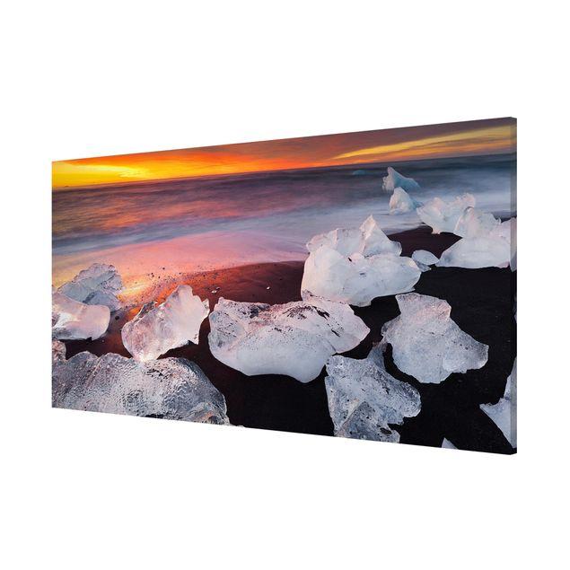 Produktfoto Magnettafel - Eisbrocken bei der Gletscherlagune Jökulsárlon Island - Memoboard Panorama Querformat 1:2