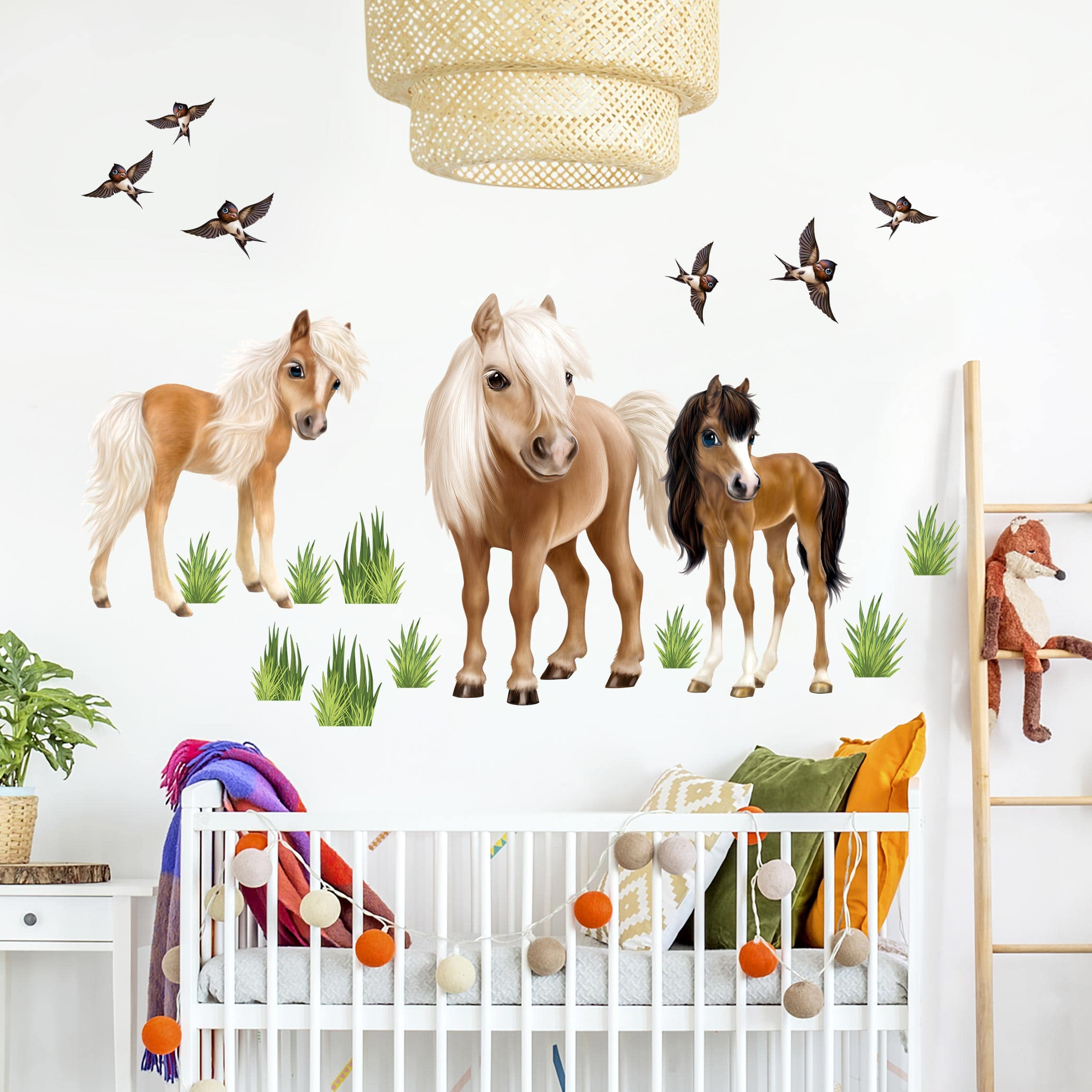 Wandtattoo Kinderzimmer - Animal Club International - Set Pferde