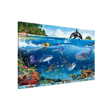 Produktfoto Magnettafel Kinderzimmer - Animal Club International - Unterwasserwelt mit Tieren - Memoboard Querformat 2:3