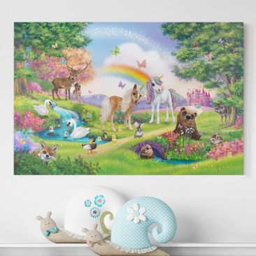 Produktfoto Leinwandbild Kinderzimmer - Animal Club International - Zauberwald mit Einhorn - Querformat 2:3