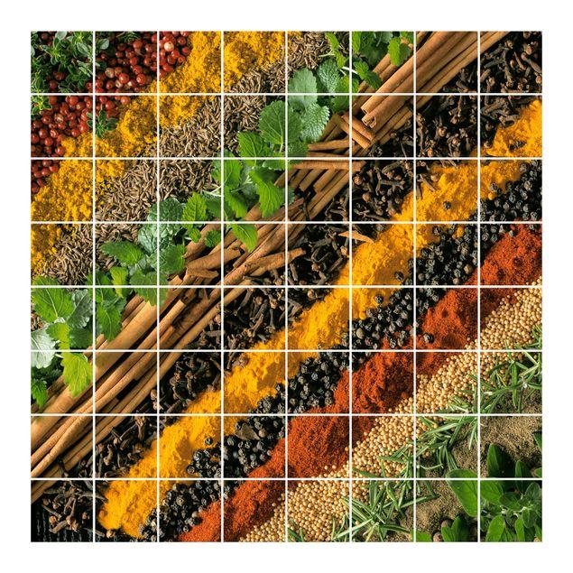 Produktfoto Fliesenbild - Gewürzstreifen - Fliesensticker Set quadratisch