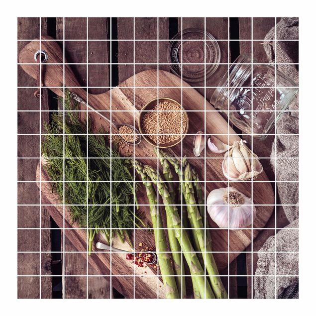 Produktfoto Fliesenbild - Spargel Rustikal - Fliesensticker Set quadratisch