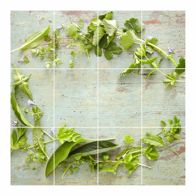 Produktfoto Fliesenbild - Wildkräuter auf Holz - Fliesensticker Set quadratisch