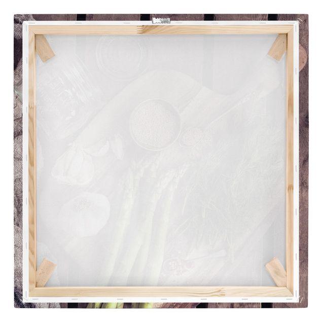 Produktfoto Leinwandbild - Spargel Rustikal - Quadrat 1:1