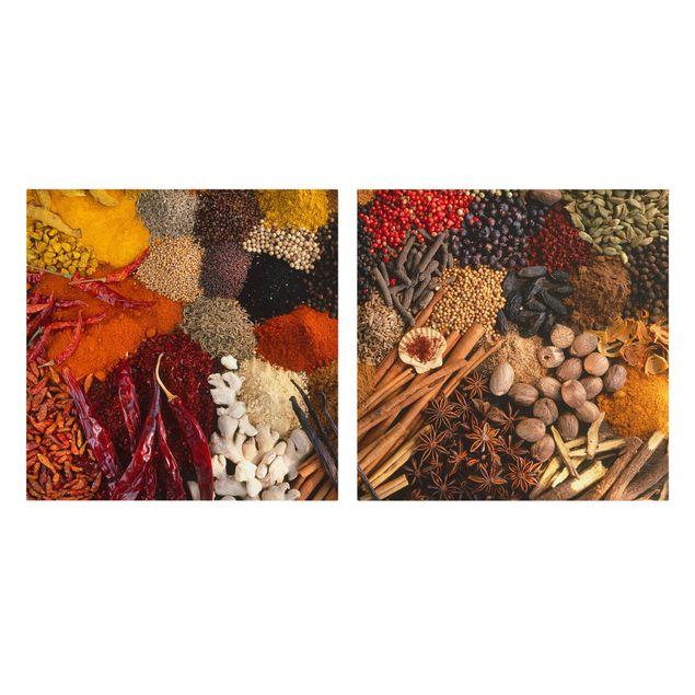 Produktfoto Leinwandbild 2-teilig - Exotische Gewürze - Quadrate 1:1