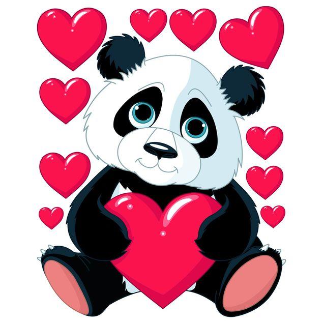 Produktfoto Fensterfolie Fenstersticker - Panda mit Herzen