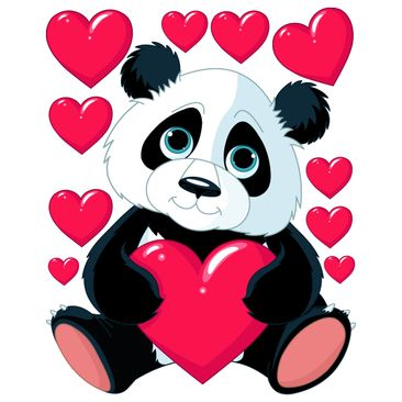 Product picture Window Sticker - Panda With Hearts